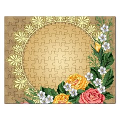 Rose Sunflower Star Floral Flower Frame Green Leaf Rectangular Jigsaw Puzzl by Mariart