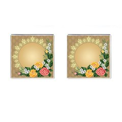 Rose Sunflower Star Floral Flower Frame Green Leaf Cufflinks (square) by Mariart