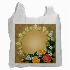 Rose Sunflower Star Floral Flower Frame Green Leaf Recycle Bag (one Side) by Mariart