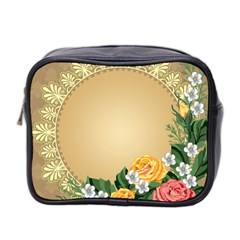 Rose Sunflower Star Floral Flower Frame Green Leaf Mini Toiletries Bag 2 Side by Mariart