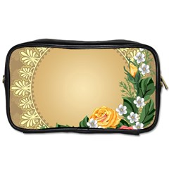 Rose Sunflower Star Floral Flower Frame Green Leaf Toiletries Bags 2 Side by Mariart