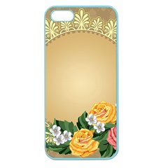 Rose Sunflower Star Floral Flower Frame Green Leaf Apple Seamless Iphone 5 Case (color) by Mariart