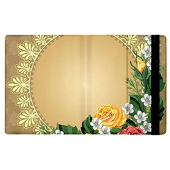 Rose Sunflower Star Floral Flower Frame Green Leaf Apple Ipad 2 Flip Case by Mariart