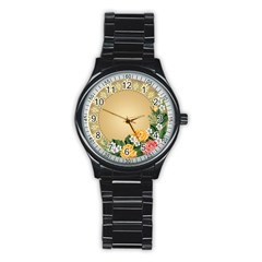 Rose Sunflower Star Floral Flower Frame Green Leaf Stainless Steel Round Watch by Mariart