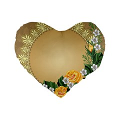 Rose Sunflower Star Floral Flower Frame Green Leaf Standard 16  Premium Flano Heart Shape Cushions by Mariart