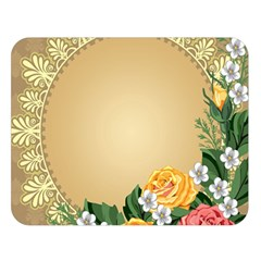 Rose Sunflower Star Floral Flower Frame Green Leaf Double Sided Flano Blanket (large)  by Mariart