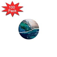 Sea Wave Waves Beach Water Blue Sky 1  Mini Buttons (100 Pack)