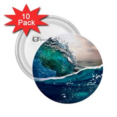 Sea Wave Waves Beach Water Blue Sky 2 25  Buttons (10 Pack)