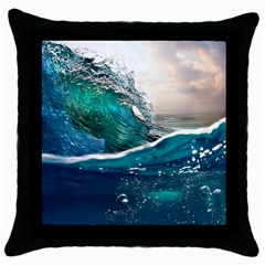 Sea Wave Waves Beach Water Blue Sky Throw Pillow Case (black) by Mariart