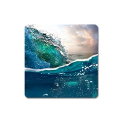 Sea Wave Waves Beach Water Blue Sky Square Magnet by Mariart