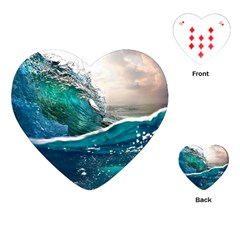 Sea Wave Waves Beach Water Blue Sky Playing Cards (heart)