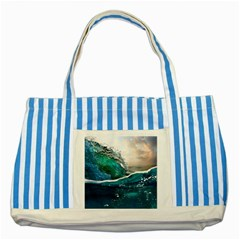 Sea Wave Waves Beach Water Blue Sky Striped Blue Tote Bag by Mariart