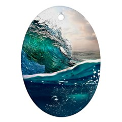 Sea Wave Waves Beach Water Blue Sky Oval Ornament (two Sides) by Mariart
