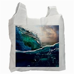 Sea Wave Waves Beach Water Blue Sky Recycle Bag (one Side) by Mariart