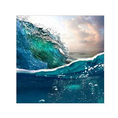 Sea Wave Waves Beach Water Blue Sky Small Satin Scarf (square) by Mariart