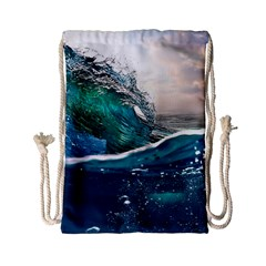 Sea Wave Waves Beach Water Blue Sky Drawstring Bag (small) by Mariart