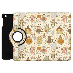 Sinister Helloween Cat Pumkin Bat Ghost Polka Dots Vampire Bone Skull Apple Ipad Mini Flip 360 Case by Mariart