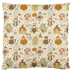 Sinister Helloween Cat Pumkin Bat Ghost Polka Dots Vampire Bone Skull Large Flano Cushion Case (one Side) by Mariart