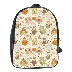 Sinister Helloween Cat Pumkin Bat Ghost Polka Dots Vampire Bone Skull School Bag (large)