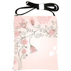 Simple Flower Polka Dots Pink Shoulder Sling Bags by Mariart