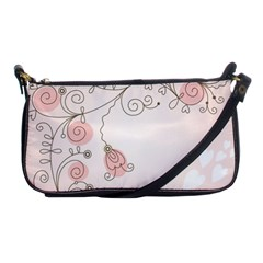 Simple Flower Polka Dots Pink Shoulder Clutch Bags by Mariart