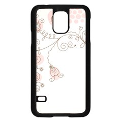 Simple Flower Polka Dots Pink Samsung Galaxy S5 Case (black) by Mariart