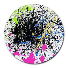 Spot Paint Pink Black Green Yellow Blue Sexy Round Mousepads by Mariart