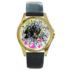 Spot Paint Pink Black Green Yellow Blue Sexy Round Gold Metal Watch by Mariart