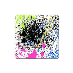 Spot Paint Pink Black Green Yellow Blue Sexy Square Magnet by Mariart