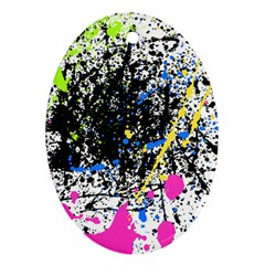 Spot Paint Pink Black Green Yellow Blue Sexy Oval Ornament (two Sides) by Mariart