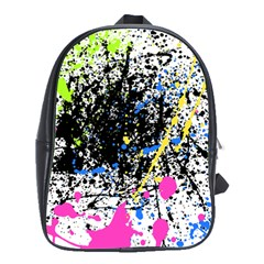 Spot Paint Pink Black Green Yellow Blue Sexy School Bag (large)