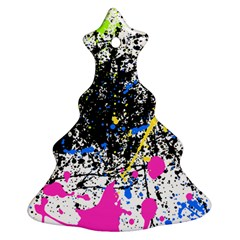 Spot Paint Pink Black Green Yellow Blue Sexy Christmas Tree Ornament (two Sides)