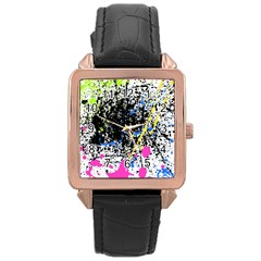 Spot Paint Pink Black Green Yellow Blue Sexy Rose Gold Leather Watch  by Mariart