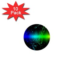 Space Galaxy Green Blue Black Spot Light Neon Rainbow 1  Mini Magnet (10 Pack)  by Mariart