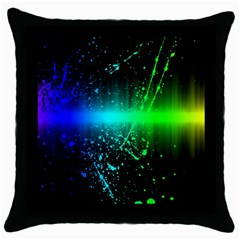 Space Galaxy Green Blue Black Spot Light Neon Rainbow Throw Pillow Case (black) by Mariart