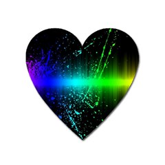 Space Galaxy Green Blue Black Spot Light Neon Rainbow Heart Magnet by Mariart