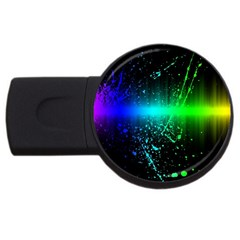 Space Galaxy Green Blue Black Spot Light Neon Rainbow Usb Flash Drive Round (2 Gb) by Mariart