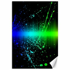 Space Galaxy Green Blue Black Spot Light Neon Rainbow Canvas 12  X 18   by Mariart