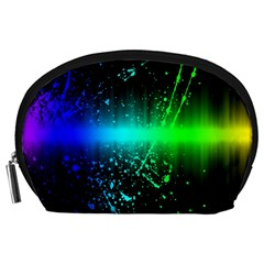 Space Galaxy Green Blue Black Spot Light Neon Rainbow Accessory Pouches (large)  by Mariart