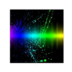 Space Galaxy Green Blue Black Spot Light Neon Rainbow Small Satin Scarf (square) by Mariart