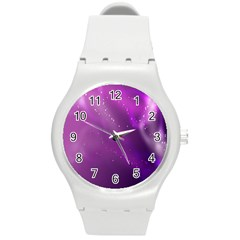 Space Star Planet Galaxy Purple Round Plastic Sport Watch (m) by Mariart