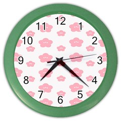 Star Pink Flower Polka Dots Color Wall Clocks by Mariart