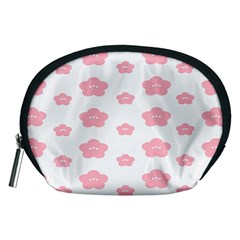 Star Pink Flower Polka Dots Accessory Pouches (medium)  by Mariart
