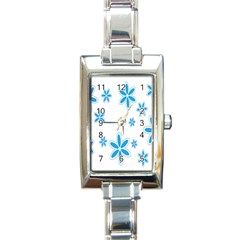 Star Flower Blue Rectangle Italian Charm Watch by Mariart