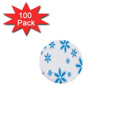 Star Flower Blue 1  Mini Buttons (100 Pack)  by Mariart