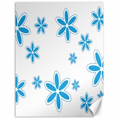 Star Flower Blue Canvas 18  X 24   by Mariart