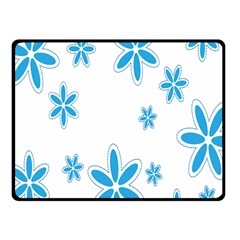 Star Flower Blue Fleece Blanket (small) by Mariart