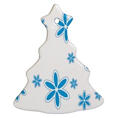 Star Flower Blue Christmas Tree Ornament (two Sides) by Mariart