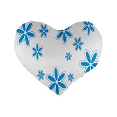 Star Flower Blue Standard 16  Premium Flano Heart Shape Cushions by Mariart