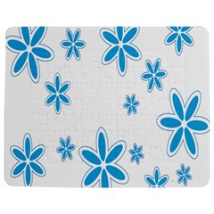 Star Flower Blue Jigsaw Puzzle Photo Stand (rectangular) by Mariart